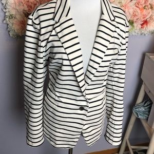 Black and white striped old navy blazer